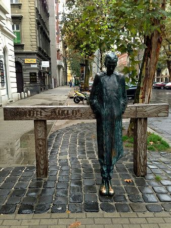 A statue dedicated to the Hungarian poet, Miklos Radnoti, near the Theater District in Budapest, Hungary.