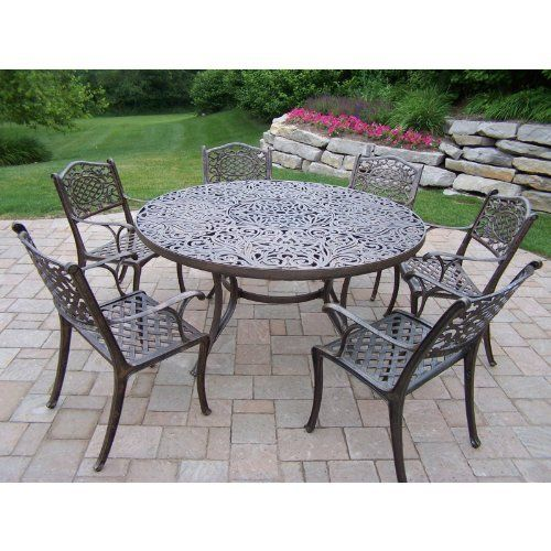 Oakland Living Mississippi Cast Aluminum 60 in  Patio Dining Set   Seats 6    With its detailed and intricate scrollwork seamlessly blending into the  lattice  51 best Garden   Patio Furniture   Accessories images on Pinterest  . Oakland Living Mississippi Patio Rocking Chair. Home Design Ideas