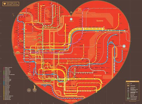 Perhaps the New York City subway map as a heart is more palatable  (by Korean design firm zero per zero)