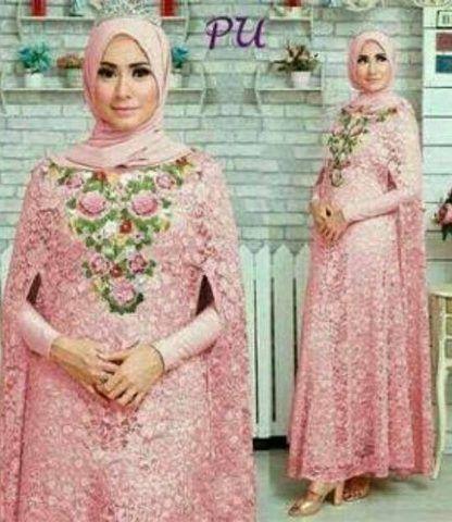 Kaftan Syahrini Maxi Brukat Dress Hijab Sahrini Syarini Isyanti Lediana