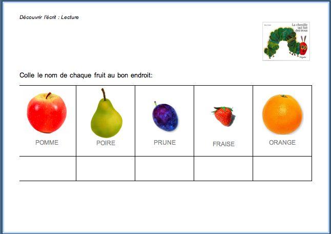 Retrouver le nom des fruits croqués par la chenille | Les petits ...