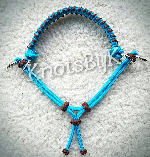 Hand crafted Sidepull/bitless bridle attachment with a whoa chin strap. Made from quality 1/4 yacht rope. Braided paracord noseband w/accent knots on chin strap that slide to allow for adjusting! Great alternative to bitless riding. It attaches to your own head stall. Fits full/average horse. Turquoise/chocolate brown ***Other colors available apon request!*** Please send me a message to discus any custom orders or questions regarding an item before placing a...