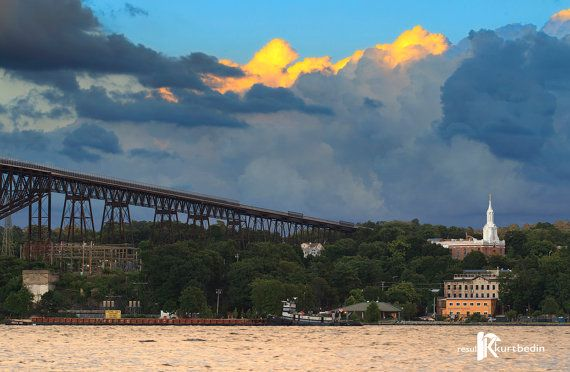 Clouds on the Hudson River with Walkway Over the Hudson and Mt Carmel Church in Poughkeepsie, NY Photograph by BR20ten on Etsy #WalkwayOverTheHudson