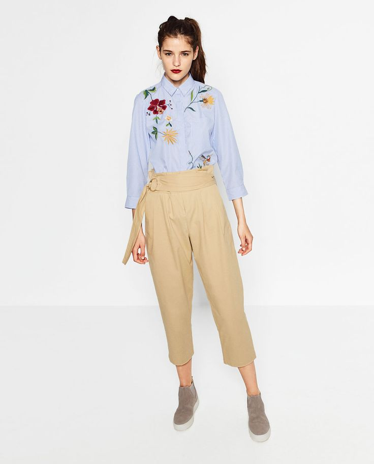 EMBROIDERED POPLIN SHIRT-View all-TOPS-WOMAN   ZARA United States