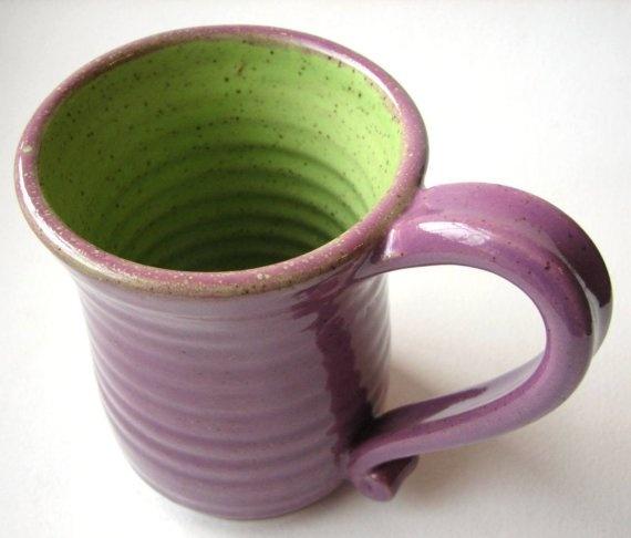 green and purple mug