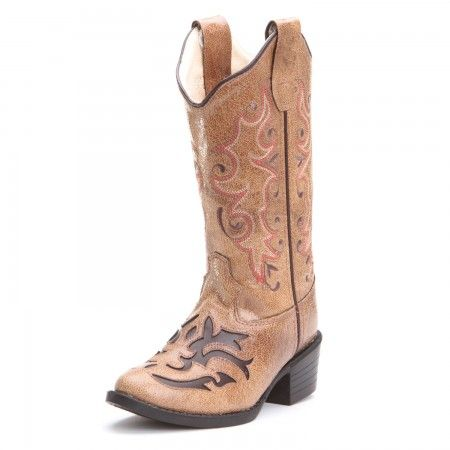 Old West Kids Girls Inlay Round Toe Cowboy Boots Tan
