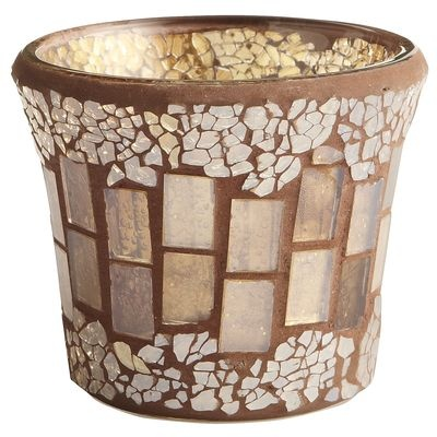 Champagne Crackle Mosaic Votive