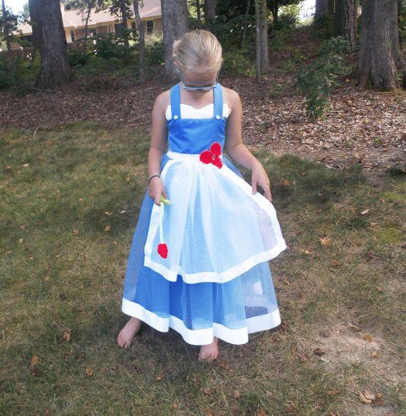 Kids Belle Tutu Dress Costume Beauty and the Beast Blue Apron Design