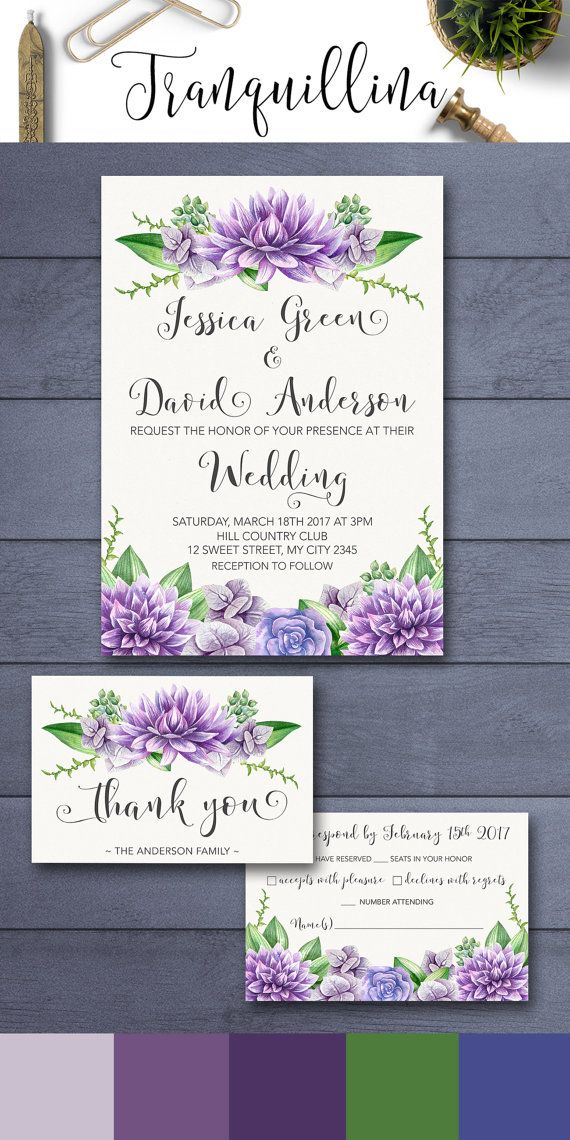 Purple Floral Wedding Invitation Printable, Boho Wedding Invitation Suite, Purple Wedding Invitation, Printable Wedding Invitation. DIY wedding, Purple and Green Flowers. For more wedding stationery follow the link: tranquillina.etsy.com