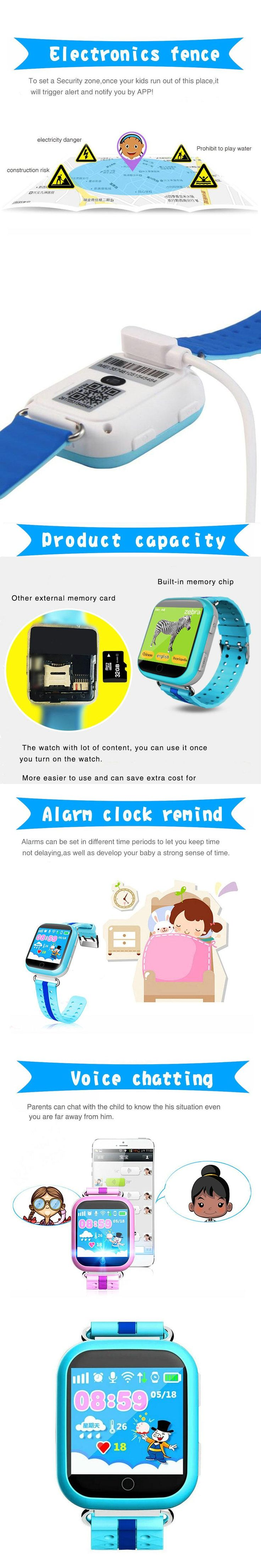 Q750 Touch Screen Smart Watch Kid Tracking Watch Phone Smart Electronics with Call SOS Clock GPS Tracker Wristwatch Children