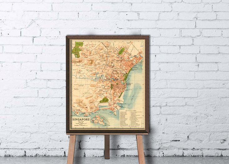 Singapore map Old map of Singapore fine by AncientShades on Etsy