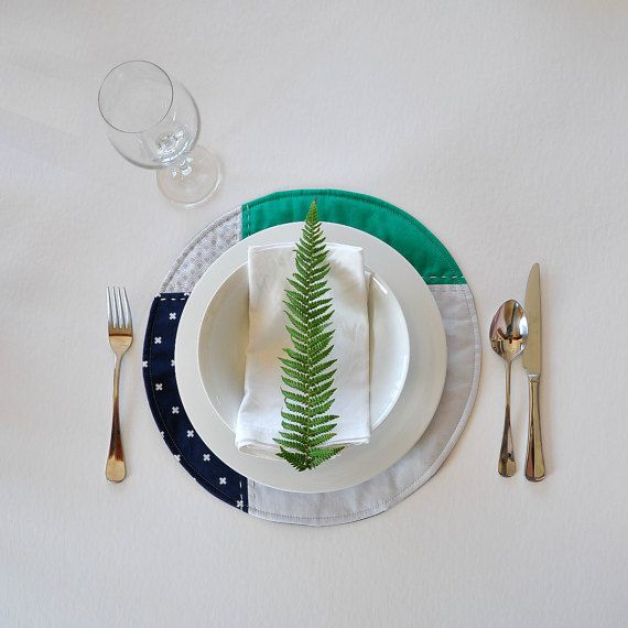 Patchwork placemats: Navy blue turquoise and grey by EdgeEffects