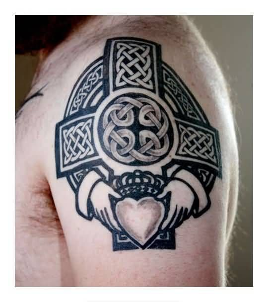 ... Upper Sleeve Decorated With Fascinating Celtic Cross Claddagh Tattoo