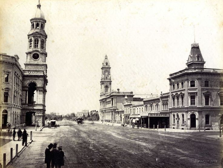 This one was taken in 1880 and is of King William Street looking south. You can see the Town Hall to your left (without a clock) and the GPO to your right. I believe that glass ANZ building would be where that building with the weird looking tower is today.