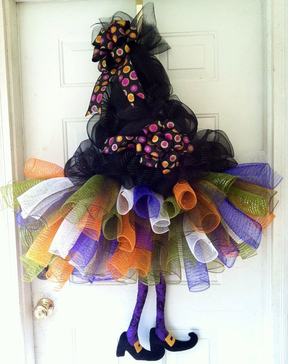SALE: Witch Tutu, Witches Hat and Witch Legs Halloween Door Hanger Decoration on Etsy, $105.00
