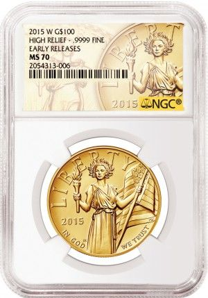 2015 $100 American Liberty High Relief NGC Mint State 70 Early Release The new 2015 $100 American Liberty High Relief from the U.S. Mint has just been released and demand from collectors has been nothing less than astounding. With a mintage of no more than 50,000 this coin is the must-have item of 2015.  Each coin graded a perfect Mint State 70 by NGC along with an Early Release designation. - http://www.austincoins.com/2015-american-liberty-high-relief-ngc-ms-70-early-release.html