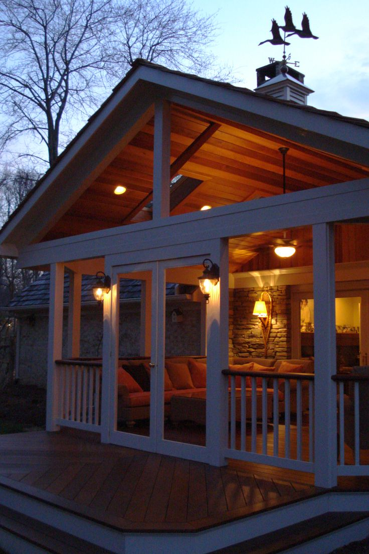 Metal screen porch attached to house - With A High Open Gable Roof This Covered Porch Will Be A Cool Comfy Place To
