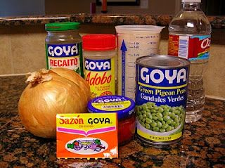 arroz con gandules or substitute gandules with a can of Goya pink beans