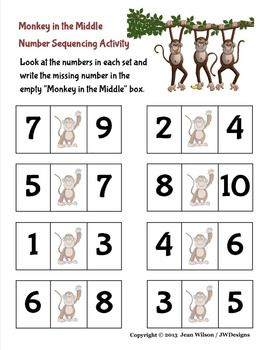 FREEBIE!  Fun activity printables.  Monkey in the Middle.