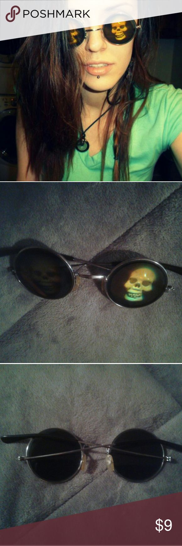Skull SunGlasses These were given too me as a gift years ago. Didn't care for the way they looked on me. But are in need of a new home to truly appreciate them! **has some basic wear and tear from being older** otherwise perfect! (Listed under Hot topic for exposure.) Hot Topic Accessories Sunglasses