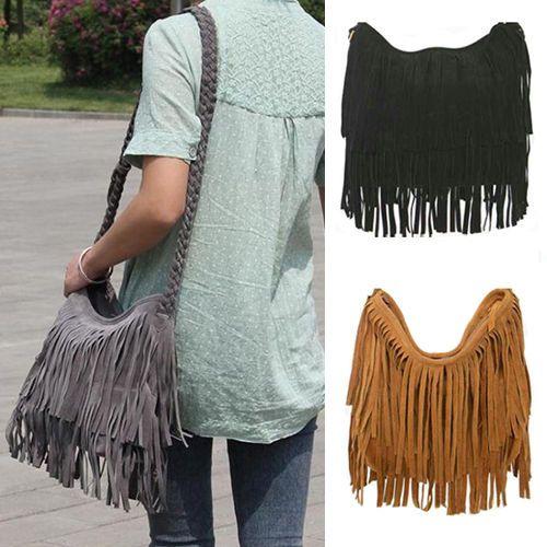 Women's Fringe Tassel Handbag Messenger Cross Body Satchel Shoulder Bag Perfect
