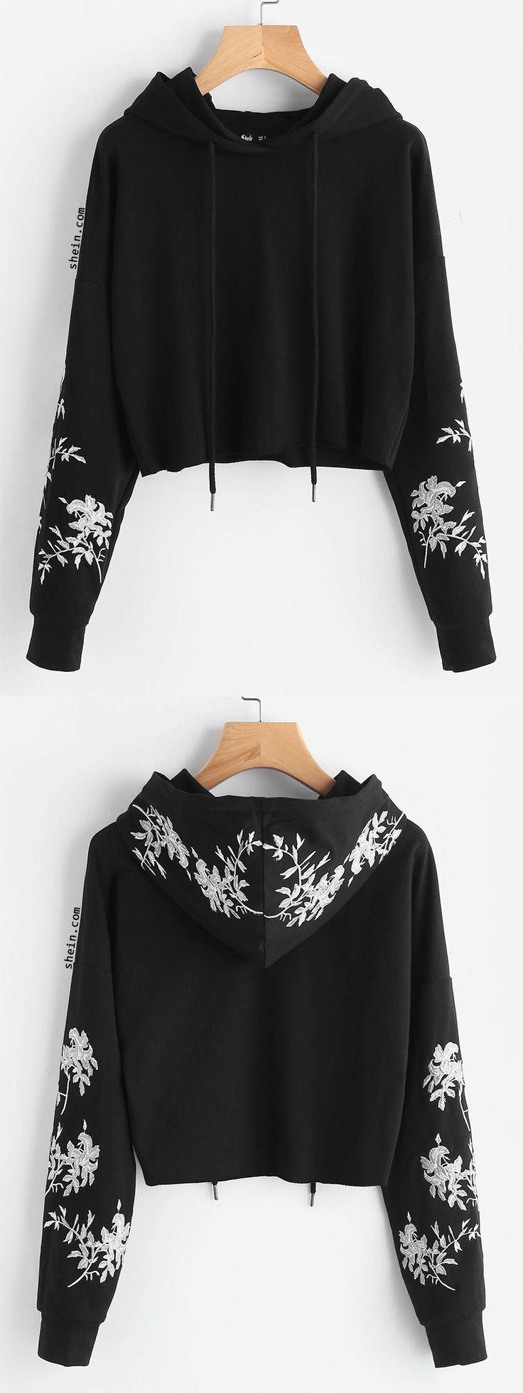 Drop Shoulder Raw Hem Embroidered Hoodie
