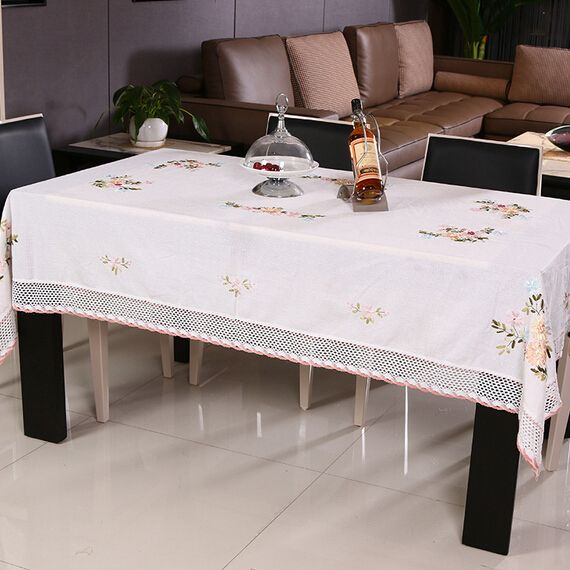 Sequin Tablecloth New Rural Ecological Cotton Toalhas De Mesa Bordada White Ribbon Hand Embroidered Tablecloth