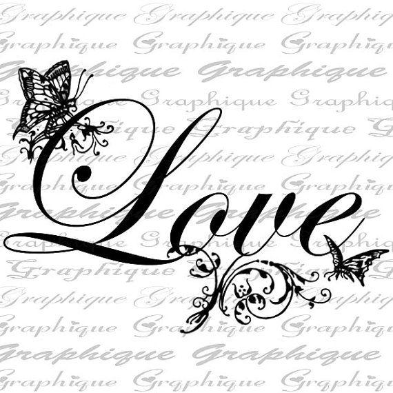 LOVE Text Digital Collage Sheet Download Butterflies door Graphique