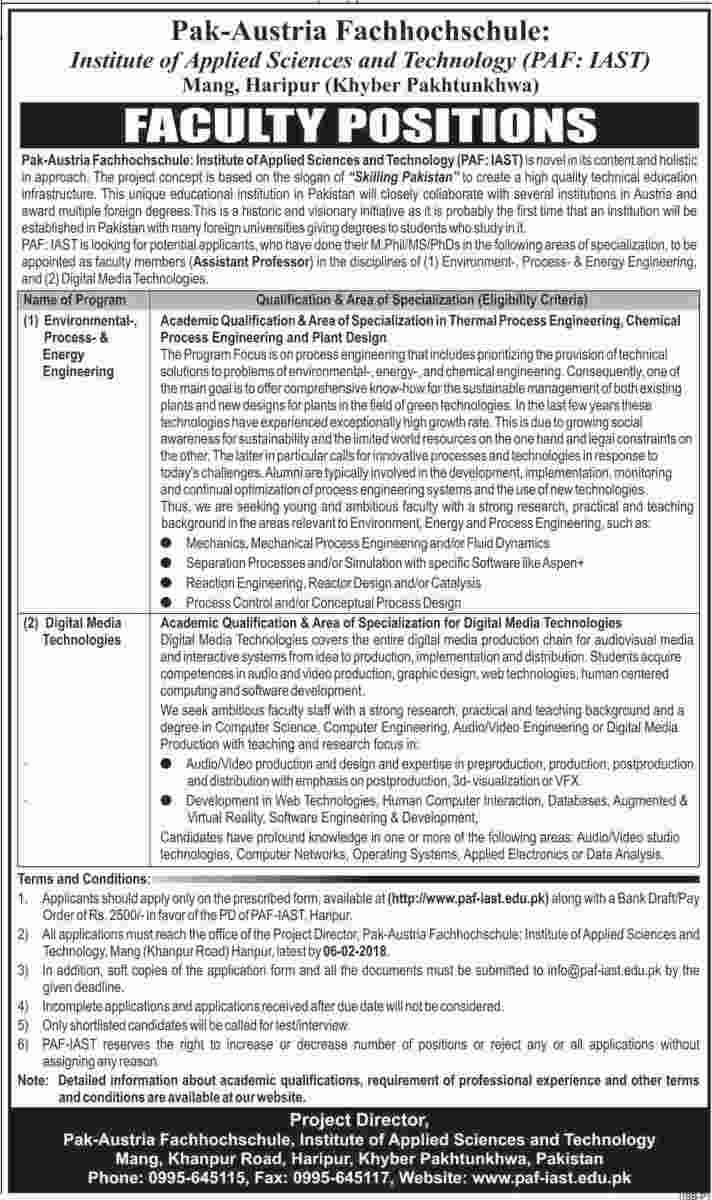 Faculty Required Institute of Applied Science and Technology