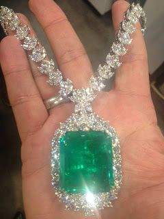 A 108 Emerald and 72 carat Diamond necklace. ~
