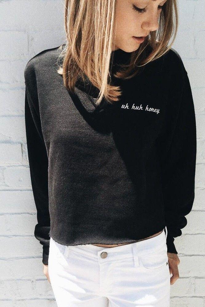 Brandy ♥ Melville | Nancy Uh Huh Honey Embroidery Sweatshirt - Graphics