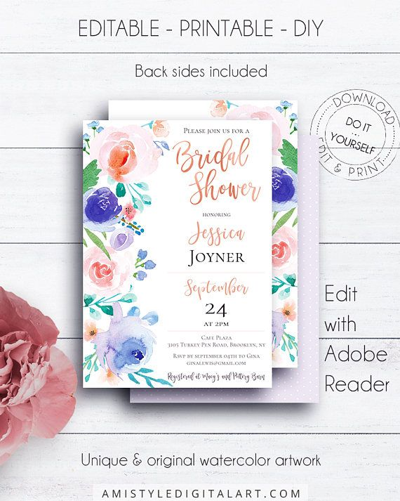 Rose Gold Boho Blush Bridal Shower Invitation, with bright and colorful watercolor floral design in bohemian style.This stylish bridal shower printable invite listing is for an instant download EDITABLE PDF so you can download it right away, DIY edit and print it at home or at your local copy shop by Amistyle Digital Art on Etsy