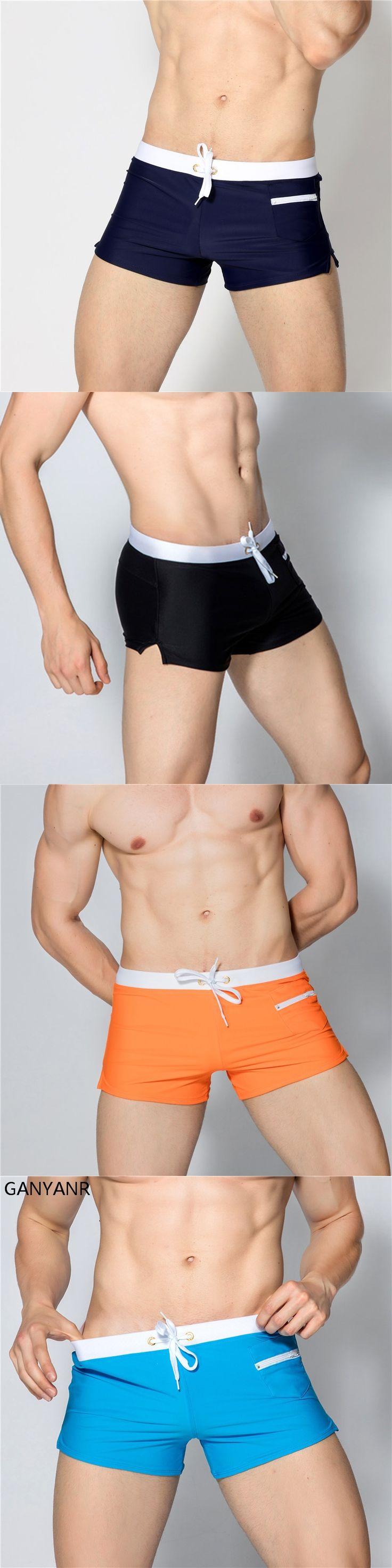 GANYANR Brand Gay Men Swimwear Brief Shorts Swimsuit Swimming Trunks Male Swim Surf Bathing Suit Sexy Pouch 2017 Low Waist Sunga