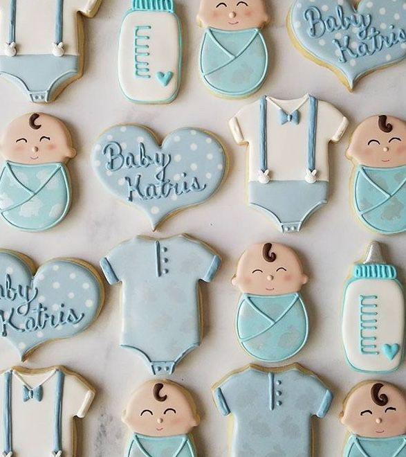 Sweet Baby Boy Cookies For A Bunny Themed Baby Shower Cookie