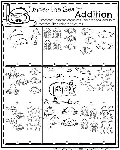 Addition worksheets under 10