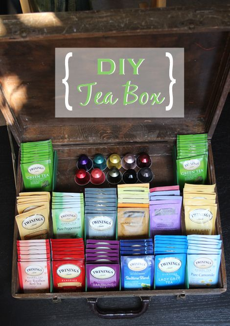 Transform an old suitcase into an everyday tea box