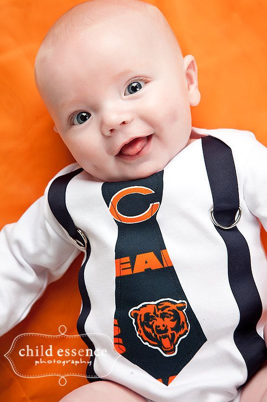 NFL Chicago Bears Inspired Navy Blue & Orange Tie and Suspenders Bodysuit/Shirt - Made to Order - 0-3M through 5T
