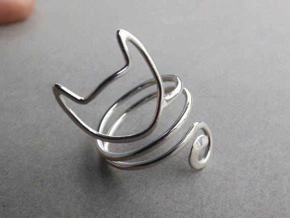 Cat Cat bague en argent anneau Swirl chat par xMoonscapeDesignx