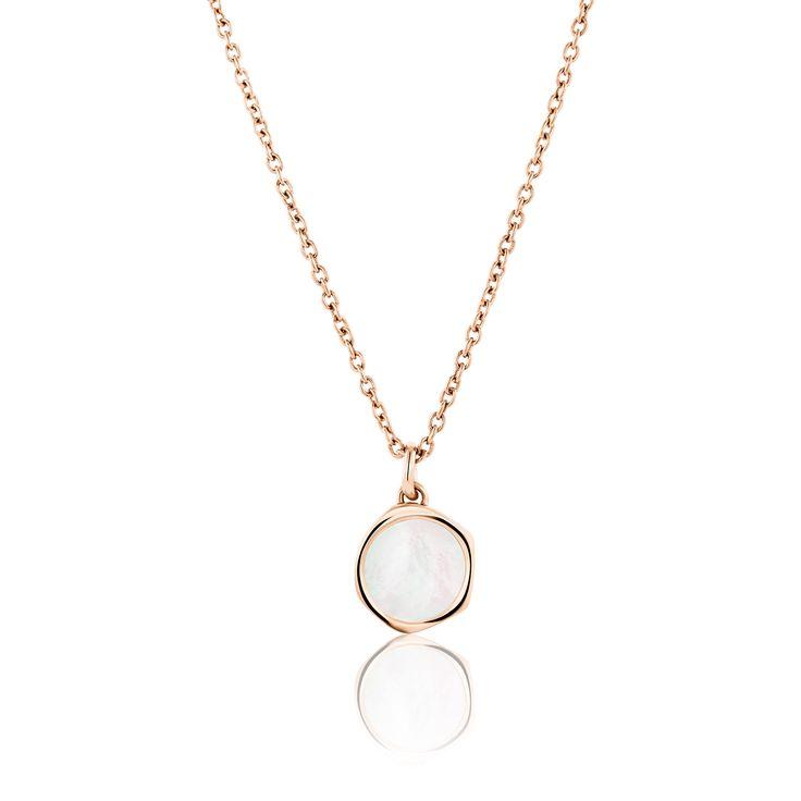 Κολιέ Aura Collection από επιχρυσωμένο ασήμι 925º με mother of pearl
