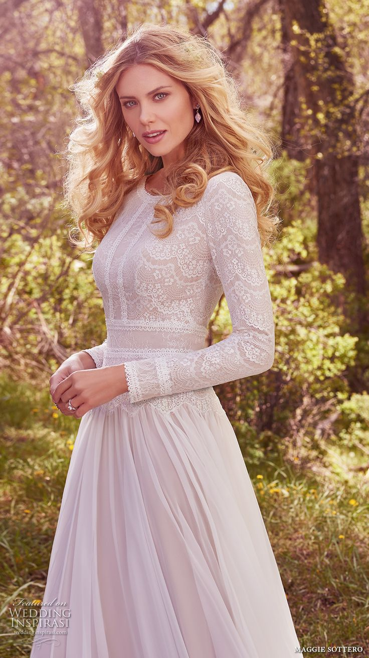 maggie sottero spring 2017 bridal long sleeves jewel neckline heavily embellished bodice conservative bohemian modified a  line wedding dress full back chapel train (deirdre marie) zv