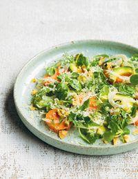 Avocado, sweet potato and walnut salad
