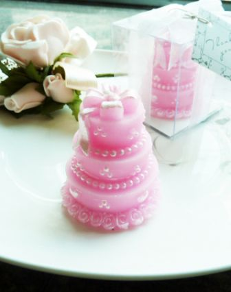 pink cake candle wedding favors, pink cake candle bomboniere