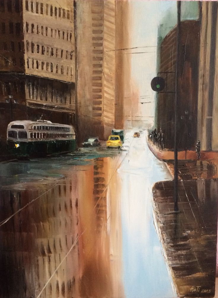 #city after the rain #oil #canvas