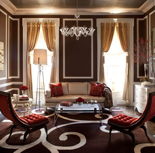 James Rixner's showhouse room is a stunning mix of warm chocolate, gold and red.