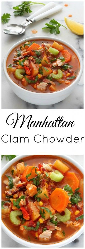 Chunky Manhattan Clam Chowder - comforting and healthy!