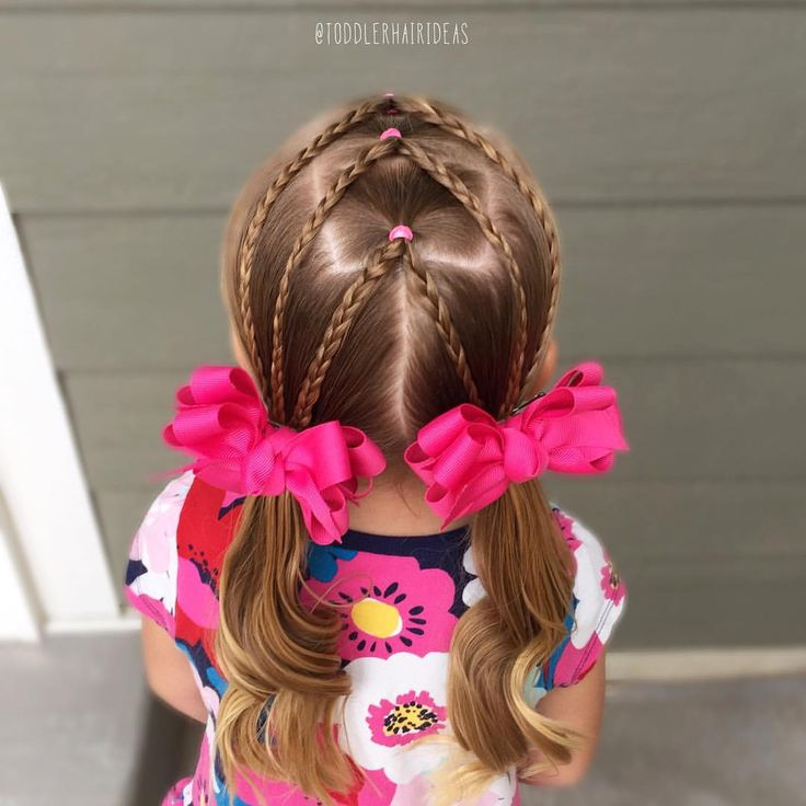 Today I did a fun elastic style! Split center ponies with braids down to curly piggies. Toddler hair ideas