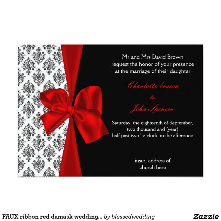 wedding card invitation cards online%0A FAUX ribbon red damask wedding invitation