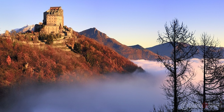 Sacra di San Michele Abbey at Sunrise, Avigliana, Piemonte, Italy