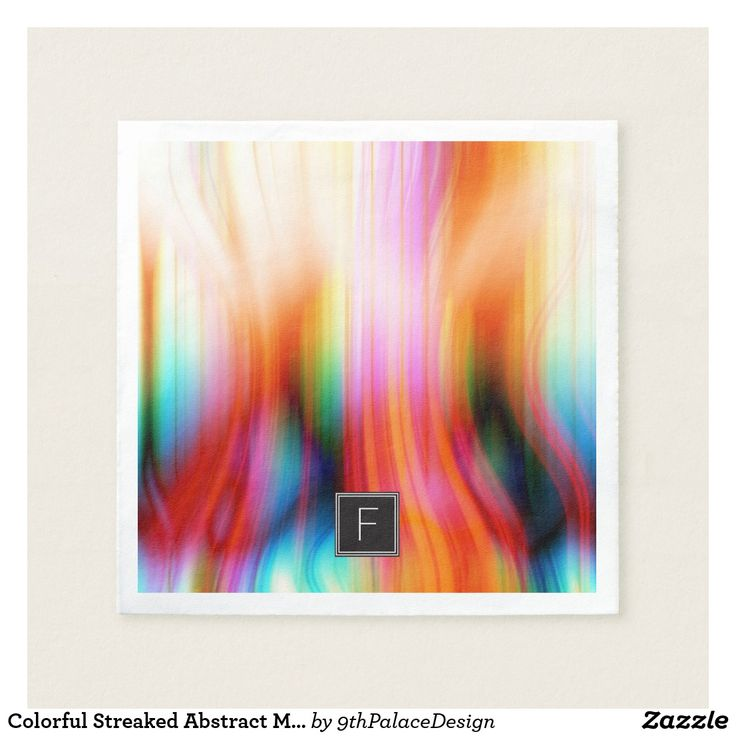 Colorful Streaked Abstract Monogram | Paper Napkin