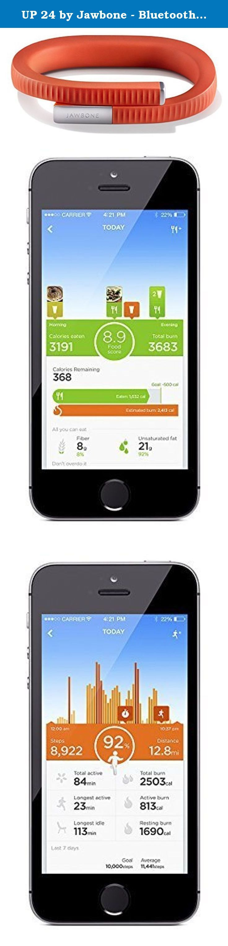 UP 24 by Jawbone - Bluetooth Enabled - Medium - Persimmon (Certified Refurbished). UP24 is compatible with many phones equipped with Bluetooth 4.0 and running Android 4.3 (Jelly Bean) or later, and iOS 6.0 or later. Track Sleep including total hours, time to fall asleep, number of wake ups Track Activity including steps, distance, calories burned, active vs. idle time Log what you eat and drink and track nutritional info by taking a photo, scanning a barcode, or searching the UP app…
